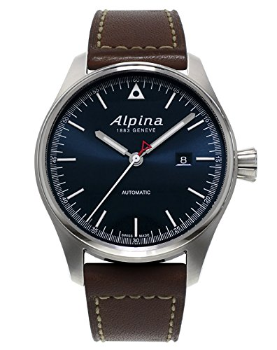Alpina Startimer Pilot Navy Sunray Dial Brown Leather Strap Mens Watch AL-525N4S6