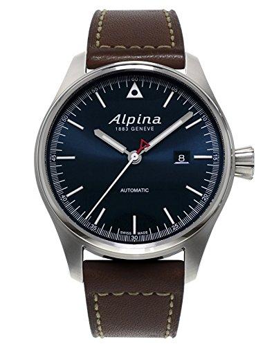 Alpina Startimer Piloto Azul Sunray Dial Brown Cuero correa Mens Reloj al-525 N4s6: Amazon.es: Relojes