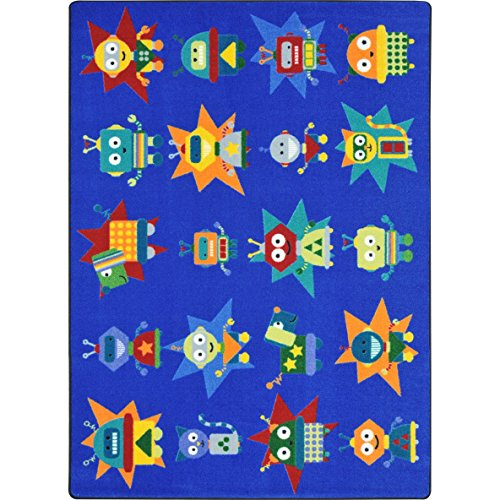 Joy Carpets Kid Essentials Early Childhood Robot Invasion Rug, Multicolored, 7'8'' x 10'9'' by Joy Carpets