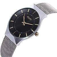 JULIUS Men's Black Dial Mesh Stainless Ultra Thin Stylish Quartz Watch Fashion Elegant Wristwatch
