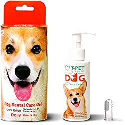 T-PET Dental Care Gel For Dog - Freshen Breath - Reduce Plaque and Tartar - Vets Approved - Toothpaste Dental Care with Toothbrush - 100% Edible Even for Humans - 4.22 o.z./ 120mL
