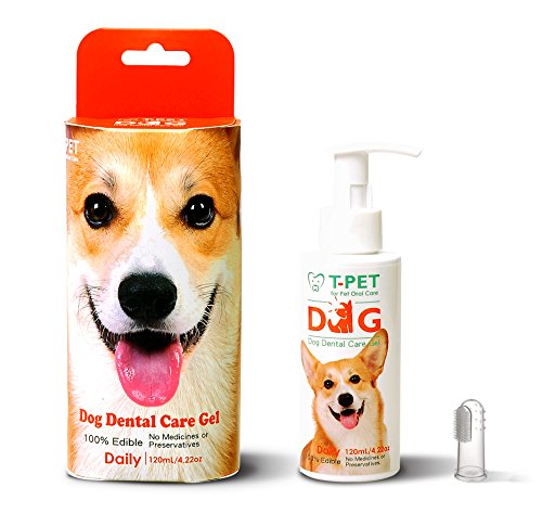 T-PET Dental Care Gel For Dog - Freshen Breath - Reduce Plaque and Tartar - Vets Approved - Toothpaste Dental Care with Toothbrush - 100% Edible Even for Humans - - Starting With Brands P