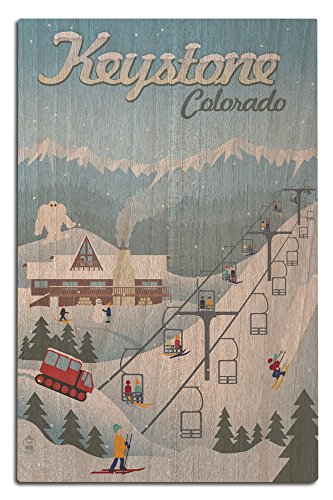 Keystone, Colorado - Retro Ski Resort (12x18 Wood Wall Sign, Wall Decor Ready to (Water Ski Wood Sign)
