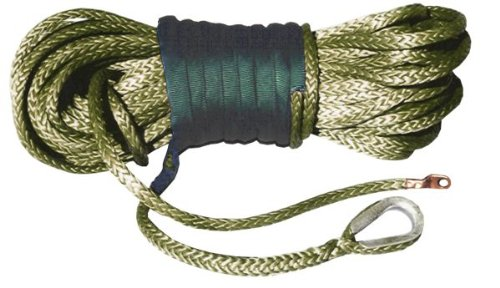 U.S. made AMSTEEL BLUE WINCH ROPE 5/16 inch x 100 ft – MILITARY GREEN (13,700lb strength) (OFF-ROAD VEHICLE RECOVERY)