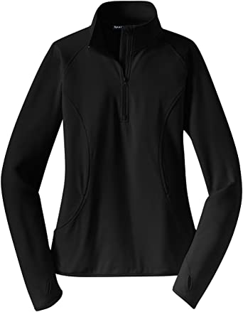 Sport Tek Ladies Sport Wick Stretch 1 2 Zip Pullover Lst850 Black At Amazon Women S Clothing Store N/asoft brushed backingflatlock stitching throughoutgently contoured silhouettecadet collarreverse coil zipperraglan. sport tek ladies sport wick stretch 1 2 zip pullover lst850 black