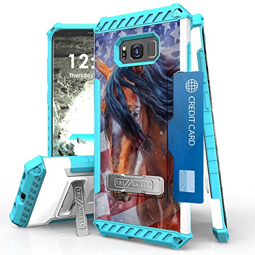 Galaxy S8 Plus Case, Trishield Durable Shockproof High Impact Rugged Full Protection Armor Phone Cover With Detachable Lanyard Loop Built In Kickstand And Card Slot American Horse from Beyond Cell