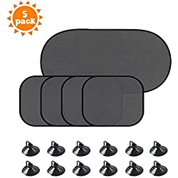 Santu Car Window Sun Shades (5 Px) - Block over 98% Harmful UV Rays, Sun and Glare Protection For Your Child - Baby Pet Car Side Window Sun Shades( With 12 suction cups)