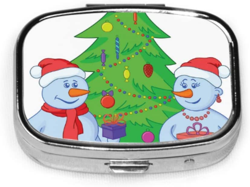 Caja organizadora de pastillas, bolas de nieve y árbol de navidad Caja de pastillas portátil Contenedor de pastillas pequeño para monedero o bolsillo, caja de pastillas cuadrada (2 compartimentos): Amazon.es: Salud y
