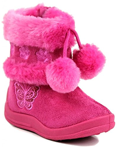 Kali Footwear Little Girls Zello Glitter Pom Pom Boots, Hot Pink 05
