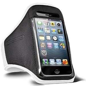 Fone-Case HTC Desire 601 aptitud REGLABLE Sport caja del brazal Jogging (Blanc)