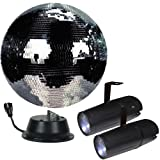 16'' Mirror Ball Complete Party Kit with 2 LED Pinspots and Motor - Adkins Professional Lighting