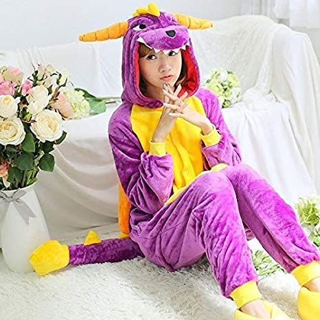 Pijama Unicornio Adulto Franela Kigurumi Bodies Dinosaurio for Adultos Spyro Las Mujeres del dragón Dinosaurio Pijama Conjunto Entero Onepiece Animal ...