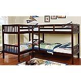 Amazon Com Ballarat L Shaped Triple Twin Bunk Bed W Desk By