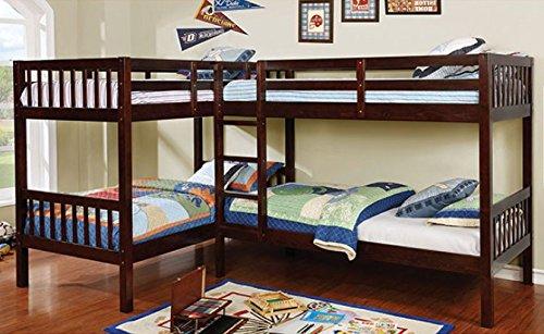 Marquette Dark Walnut Quadruple Twin Bunk Bed by Furniture o