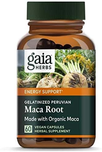 Gaia Herbs Maca Root Capsules, Vegan Gelatinized, 60 Count - Supports Energy, Stamina, Healthy Libido & Hormone Balance, Made with Organic Peruvian Maca Powder
