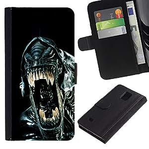 Paccase / Billetera de Cuero Caso del tirón Titular de la tarjeta Carcasa Funda para - Sci-Fi Movie Black Alien Ufo - Samsung Galaxy Note 4 SM-N910