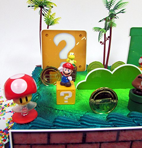 "MARIO Brothers Birthday CAKE Topper Set Featuring Mario Figures,Themed Decorative Accessories, Figures Average .5"" to 1.5 Inches Tall"