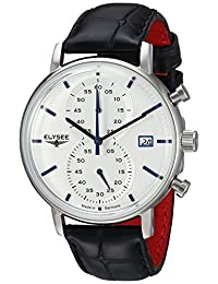 ELYSEE Men's 'Classic-Edition' Quartz Stainless Steel and Leather Casual Watch, Color:Black (Model: 83820.0)