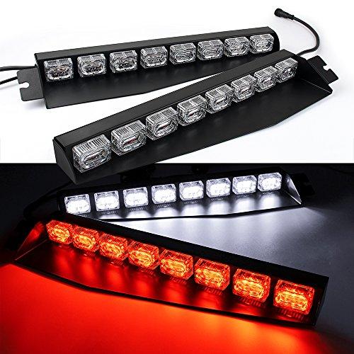Hot 48LED 48W LED Lightbar Visor Light Windshield Emergency Hazard Warning Strobe Beacon Split Mount Deck Dash Lamp (Red/White) hot sale