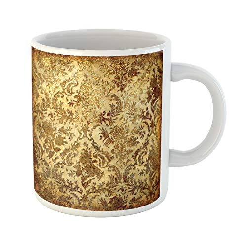 Semtomn Funny Coffee Mug Beige Gold Vintage in Golden Patterns Brown Colored Rustic 11 Oz Ceramic Coffee Mugs Tea Cup Best Gift Or -