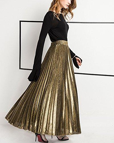 Kasen Mujer Cintura Elástica Metálico Lustre Brillante Plisada Falda Larga  de la Vendimia Faldas Oro S  Amazon.es  Ropa y accesorios 77b0b0cf3a7e