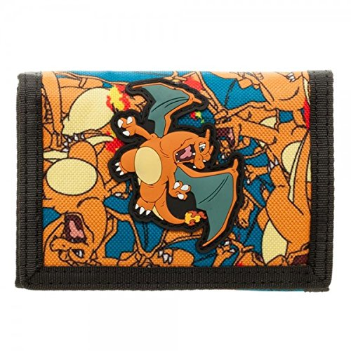 Pokemon Charizard Hook and Loop Trifold Wallet Bioworld FW3VSCPOK