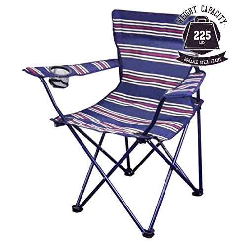 OZARK Trail Youth Folding Chair for All Outdoor Activities Blue w/Stripes