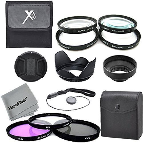 58MM Multi-Coated Professional Lens Filter (Ultraviolet-Circular Polarizer-Fluorescent) and Close Up Accessory Kit for CANON EOS Rebel T5i T5 T4i T3i T3 T2i T1i XT XTi XSi SL1 DSLR Cameras- Includes: Hard Tulip Lens Hood + Soft Rubber Lens Hood + Carry Pouch + Snap On Lens With Cap Keeper Leash +HeroFiber Ultra Gentle Cleaning Cloth