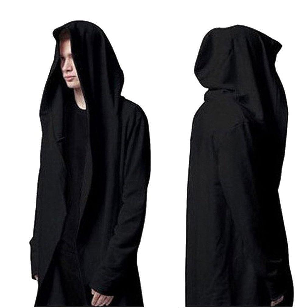 YOU& JIE& PING Men's Autumn and Winter Black Cloak Street Hip Hop Hoodies Cardigan Rui Jess Clothing