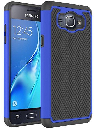 J1 2016 Case, Galaxy Amp 2 Case, Galaxy Express 3 Case, NOKEA [Shock Absorption] Hybrid Armor Defender Protective Case Cover for Samsung Galaxy J1 2016 / Amp 2 / Express 3 (Blue) (Samsung Galaxy 2 Case For Girls)