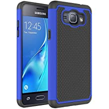 J1 2016 Case, Galaxy Amp 2 Case, Galaxy Express 3 Case, NOKEA [Shock Absorption] Hybrid Armor Defender Protective Case Cover for Samsung Galaxy J1 2016 / Amp 2 / Express 3 (Blue)