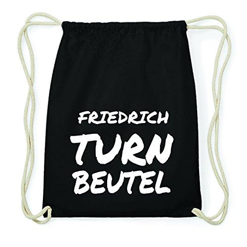 JOllify FRIEDRICH Hipster Turnbeutel Tasche Rucksack aus Baumwolle - Farbe: schwarz Design: Turnbeutel