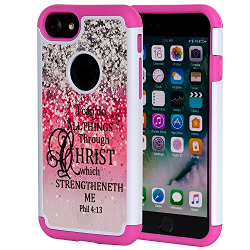 iPhone 7 Case,iPhone 8 Case Bible Verse,SKYFREE Christian Quotes Philippians 4:13 [Shockproof] Hybrid Dual Layer Armor Defender Protective Case Cover for Apple iPhone 7 (2016) / iPhone 8 (2107)