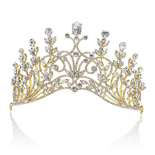SWEETV Luxury Crystal Crown Rhinestone Bridal Tiara Wedding Jewelry Hair Style Accessories, Gold