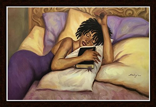 US Art Distressed Mohagany 1.5 inch Framed with SPIRITUAL NAP I - FEMALE VERSION (RELIGIOUS/BIBLE/AFRICAN AMERICAN ART) Artist STERLING BROWN 24x36 Art Print Poster (Best Sterling Of The American Poetries)