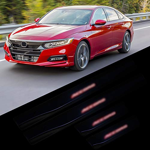 MFC PRO 4Pcs New Door Sill Scuff Plate Welcome Pedal Illuminated LED Light Automotive Door Entry Guard Protector for 2018 2019 Honda Accord (Red Light, for Honda Accord) ()
