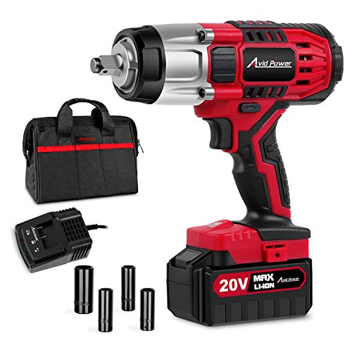 "20V MAX Cordless Impact Wrench with 1/2""Chuck, Max Torque 330 ft-lbs, 3.0A Li-ion Battery, 4Pcs Driver Impact Sockets, 1 Hour Fast Charger and Tool Bag, Avid Power"