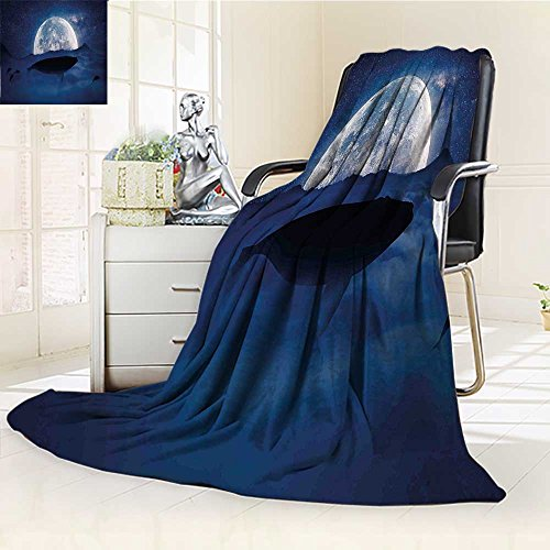 YOYI-HOME Digital Printing Duplex Printed Blanket A Whale Under Full Moon Starry Sky Night Cosmos Space Mystic Design Dark Blue Dust Summer Quilt Comforter /W47 x H79 -