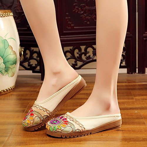 Beige Embroidered Slipper Womens Round Backless Flats Toe Shoes CHICKLE vnH81wfqx