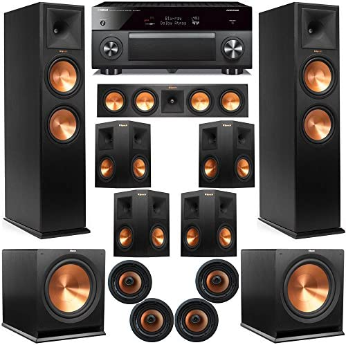 Klipsch 11.2 Atmos Residence Theater System with RP-280F Tower Audio system, 450C Heart, R-115 Subs, 250s Encompass, CDT-5800CII Ceiling, with RX-A3070 Receiver