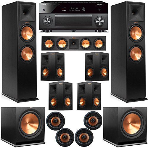 Klipsch 11.2 Dolby Atmos Home Theater System with RP-280F Tower Speakers, 450C Center, R-115 Subwoofers, 250s Surround, CDT-5800CII Ceiling, with Yamaha RX-A3070 Receiver by Klipsch-1