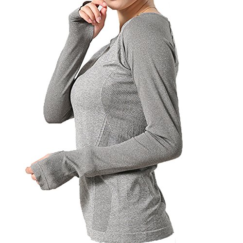 LWJ 1982 Women's Sports Skin Gym Yoga Run Seamless Long Sleeve Function Fitness T-Shirts (Large, Grey)