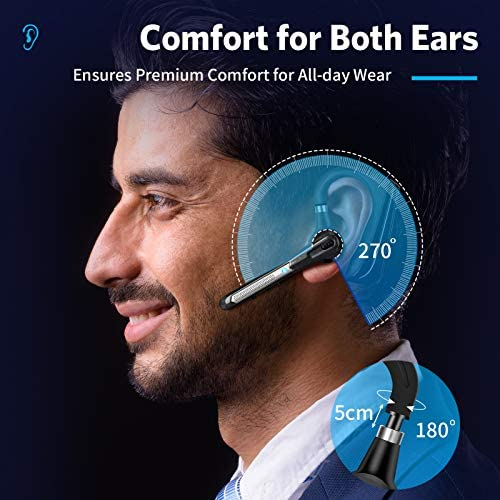 Bluetooth Earpiece V5.0 Wireless Bluetooth Headset, Dual-Mic Blue Tooth Earphones Noise Cancelling Ear Piece, Hands-Free Talking Compatible with iPhone and Android for Business/Workout/Driving/Office