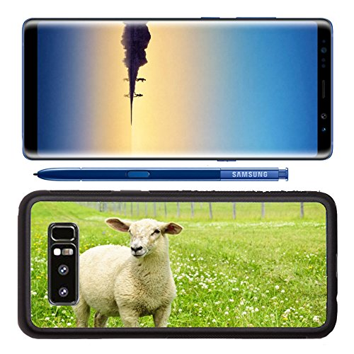 Luxlady Premium Samsung Galaxy Note8 Aluminum Backplate Bumper Snap Case Cute funny sheep or lamb in green meadow IMAGE ID 8066950