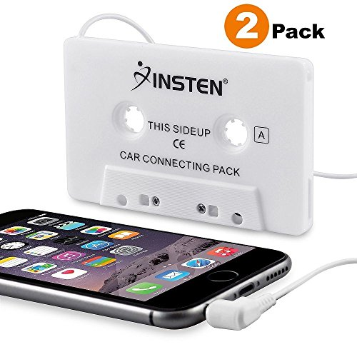 Insten [2-Pack] Car Cassette Tape Deck Adapter Compatible with 3.5mm Jack Audio MP3/CD Player for iPhone 6S / 6S Plus / 5S, Samsung Galaxy S8 / S8+ S8 Plus/S9/ S9+ S9 Plus, LG G6