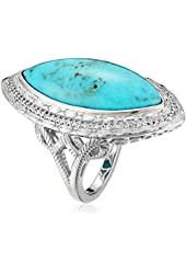 Sterling Silver Marquise Stabilized Turquoise with Created White Sapphire Ring, Size 7