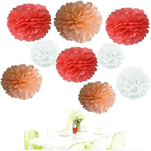 Since ®18Pcs of 8' 10' 14' 3 Colors Mixed Coral White Peach Tissue Paper Flowers,Tissue Paper Pom Poms, Wedding Party Decor, Pom Pom Flowers,Tissue Paper Flowers Kit,Pom Poms Craft,Pom Poms Decor 6284796