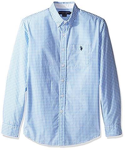 U.S. Polo Assn. Men's Stripe, Plaid Or Print Long Sleeve Single Pocket Sport Shirt, 9770-Artist Blue, M