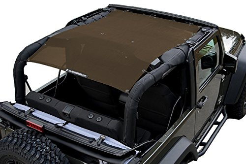 ALIEN SUNSHADE 2-Door Jeep Wrangler Mesh Shade Top Cover with 10 Year Warranty Provides UV Protection for Your JK (2007-2017) (Chocolate)