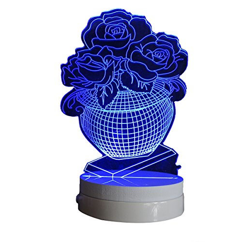 Rose Vase 3D Creative Multicolor Nursery Night Light Table Lamp for Kids